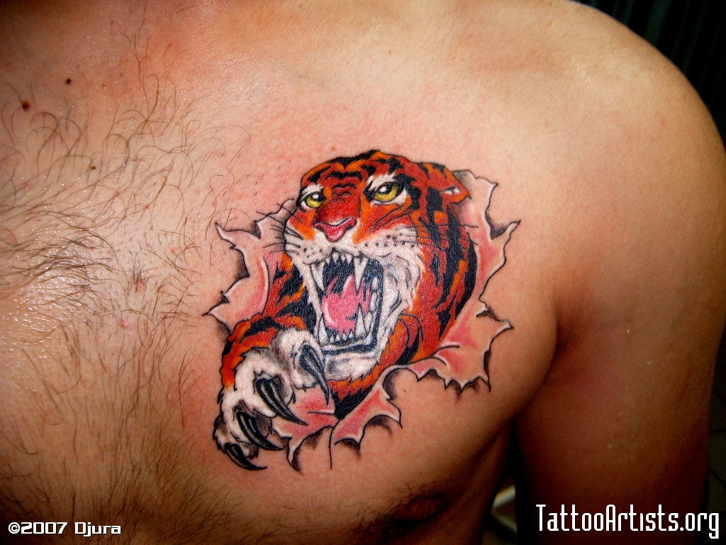 ремонт татуировка тигра в берете разрывающего кожу ультрафиалету, осадкам