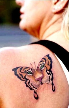 Butterfly Tiger Face Tattoo On Back Shoulder