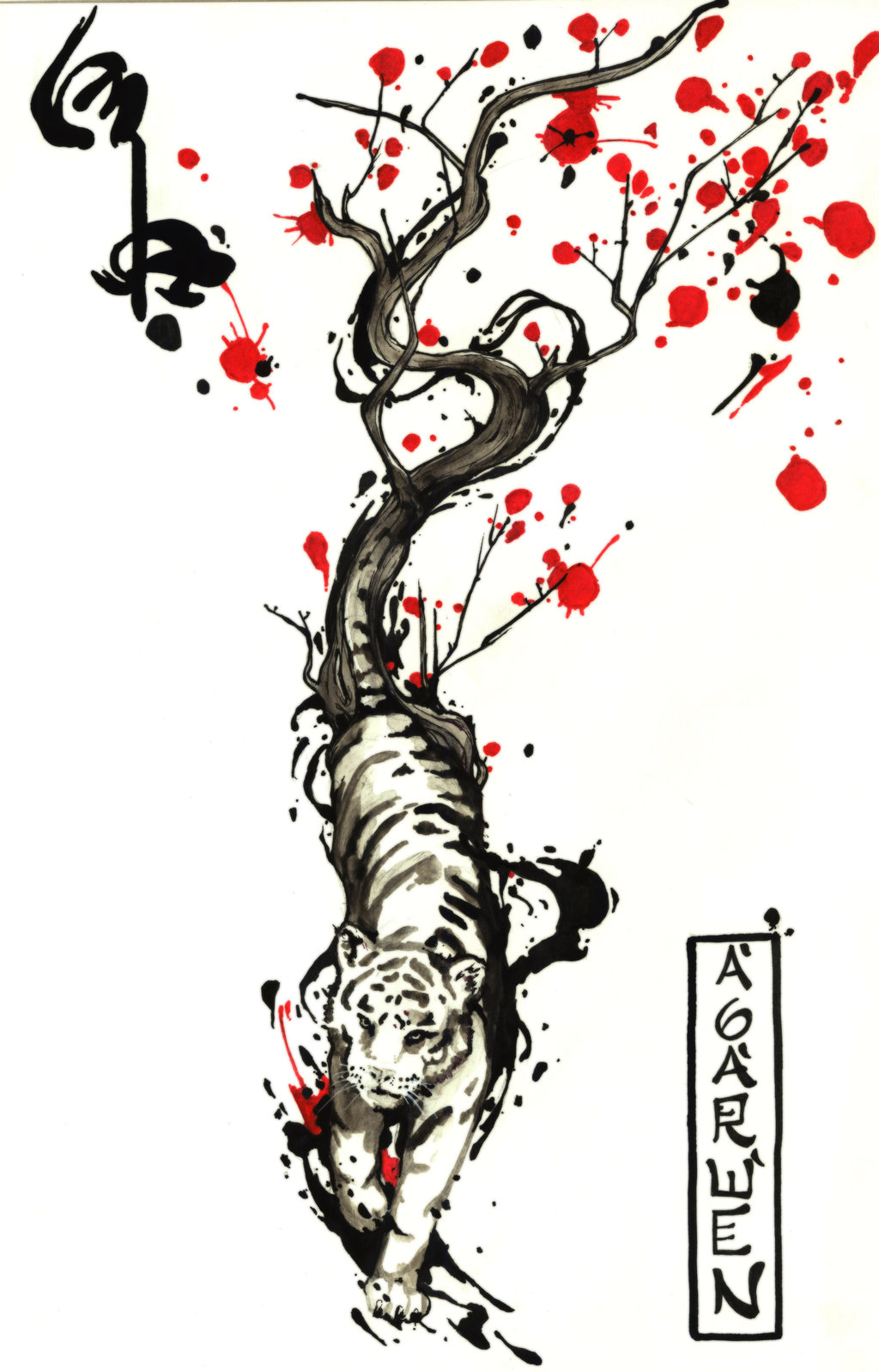 Chinese Flowers And Tiger Tattoo Design