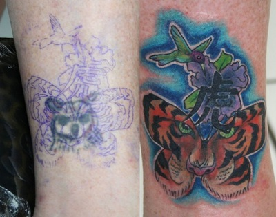 2986592d2 Color Flowers And Tiger Head Butterfly Tattoo