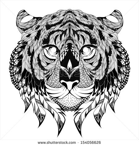 Black And White Tiger Head Tattoo Images amp Designs