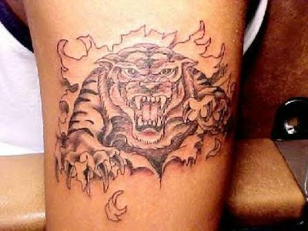 66bb6c0b8 Grey Ink Ripped Skin Tiger Tattoo On Bicep
