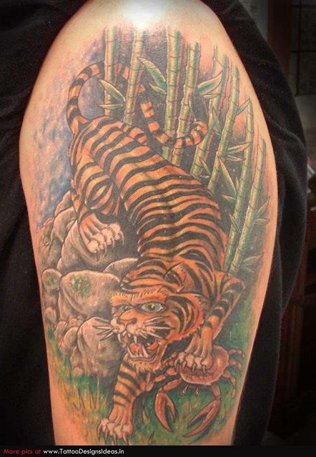 Half Sleeve Colored Tiger Tattoo