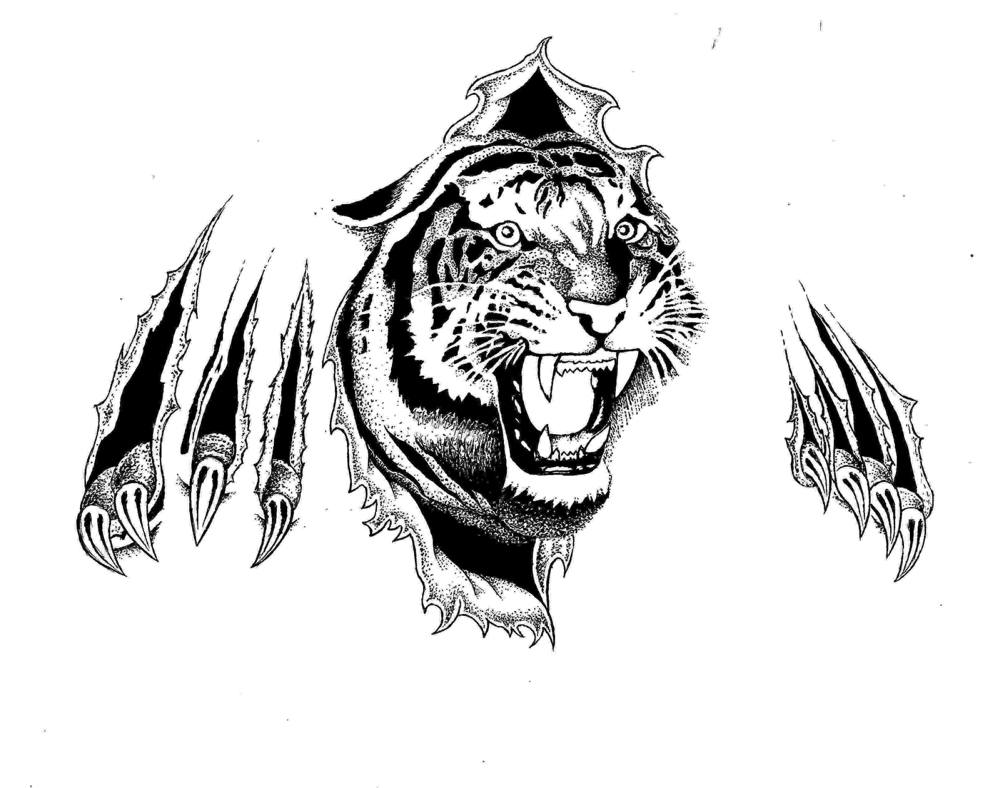 094b38162 Ripped Skin Tiger Head Tattoo Design