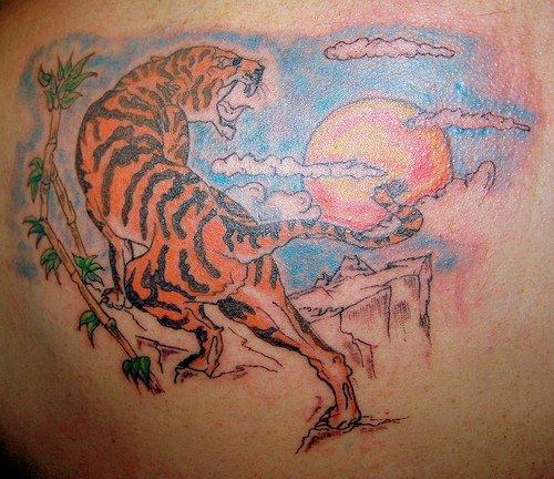 Sun And Tiger Tattoo