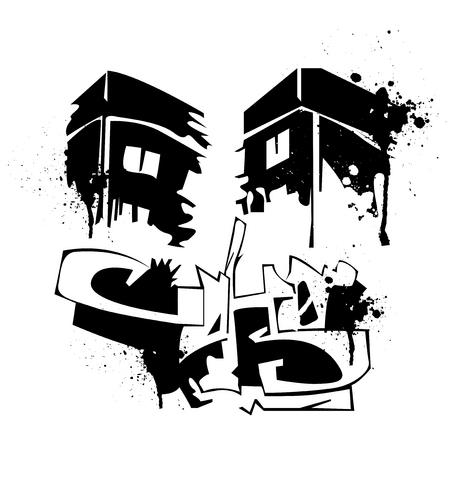 Awful Black Ink Graffiti Tattoo Design