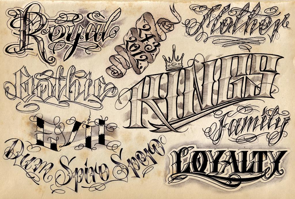 Grey Ink Graffiti Tattoos Designs