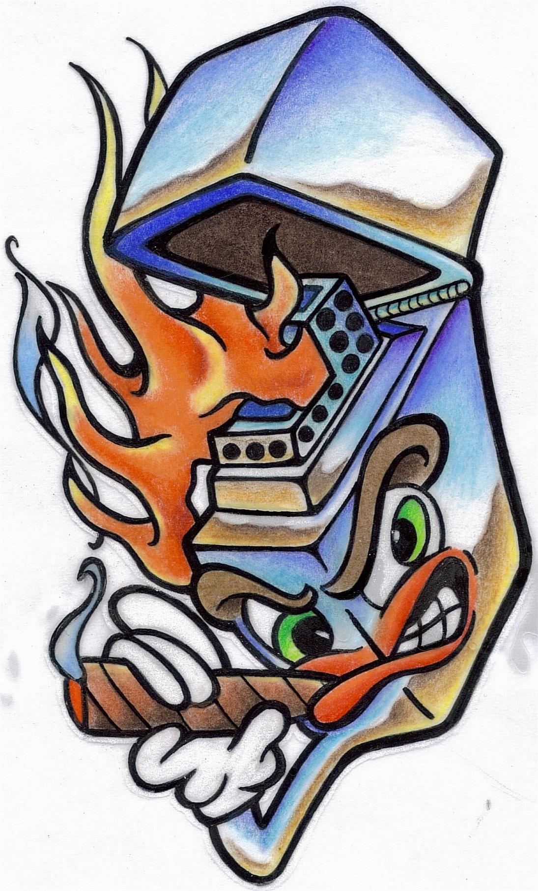 Smoking Robo Head Graffiti Tattoo Design