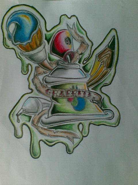 Wonderful Colored Graffiti Tattoo Design