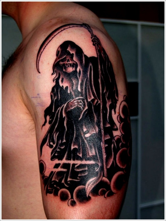 Beautiful black ink grim reaper tattoo on man left half sleeve for Tattoos of the grim reaper