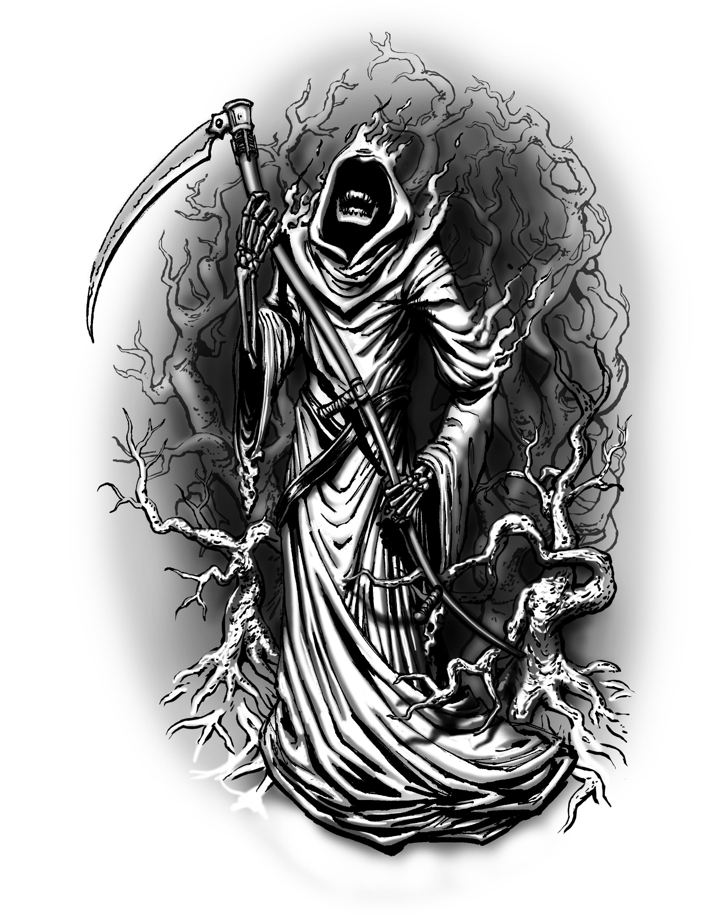 c2929eed2 Beautiful Grey Ink Grim Reaper Tattoos Designs
