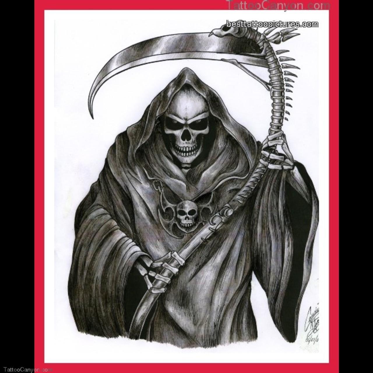 black ink grim reaper design for