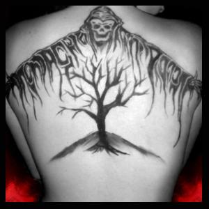39942fb2c Black Ink Grim Reaper Tattoo On Back