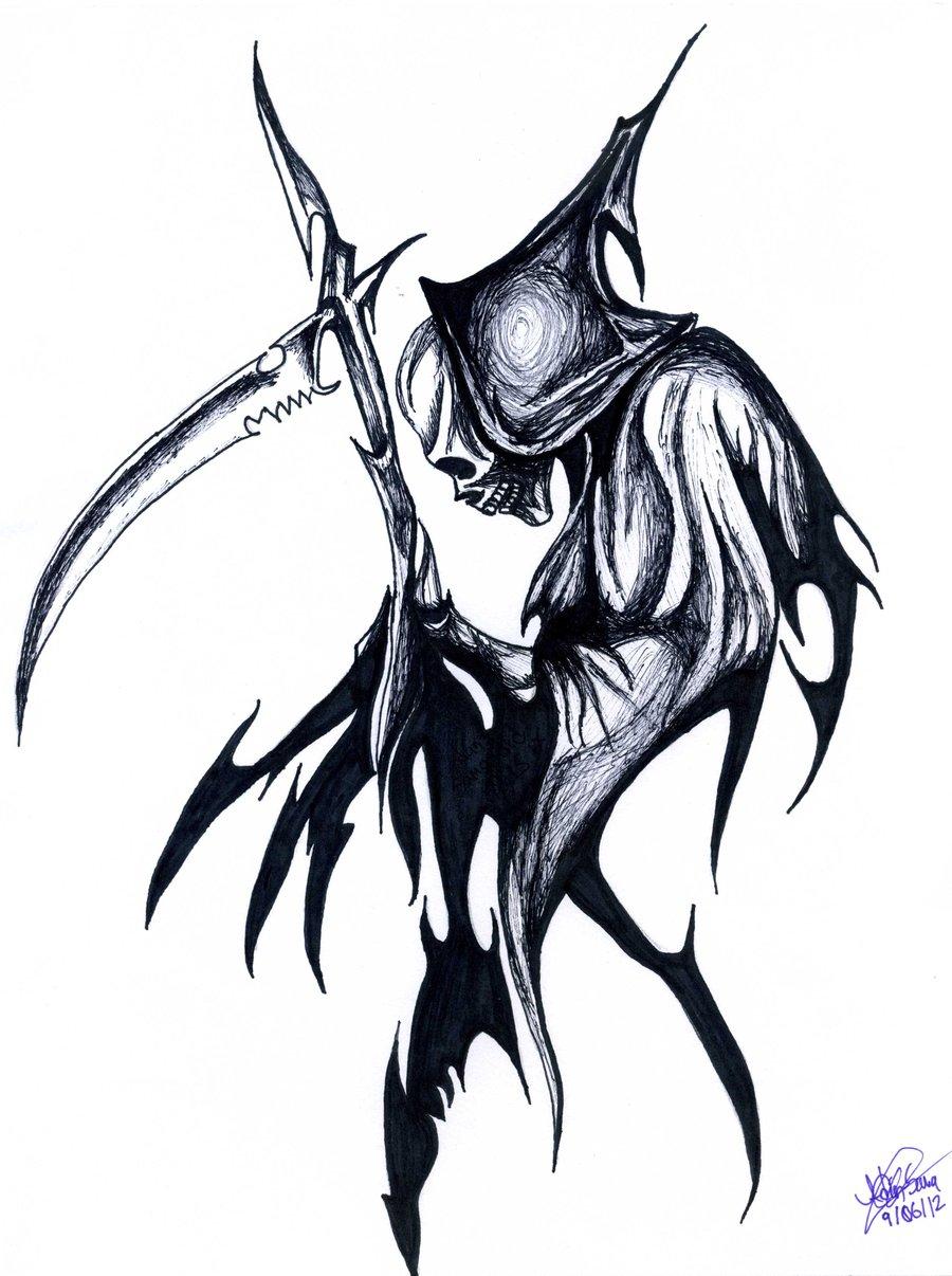 black ink tribal grim reaper tattoo design rh tattoostime com tribal grim reaper tattoo designs Grim Reaper Tattoos for Men