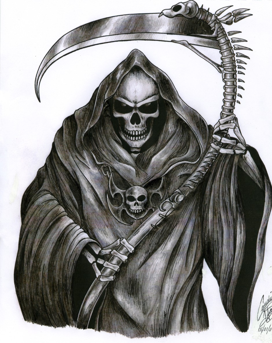 Cute Outline Grim Reaper Tattoo Design