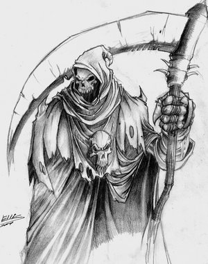 Evil Grim Reaper Tattoo Design For Men