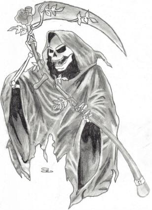 6a266c7a9 Grey Ink Death Grim Reaper Tattoo Design