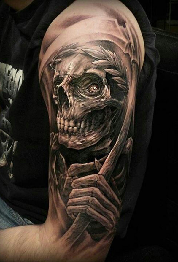 Grey ink skull grim reaper tattoo on left half sleeve for Tattoos of the grim reaper