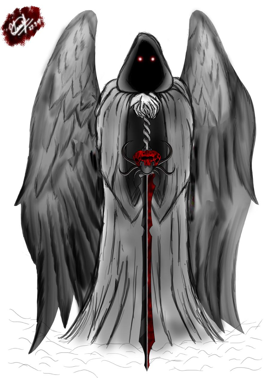 Large Angel Winged Grim Reaper Tattoo Design