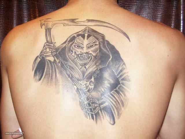 Attractive Grey Ink Grim Reaper Tattoo On Back Body