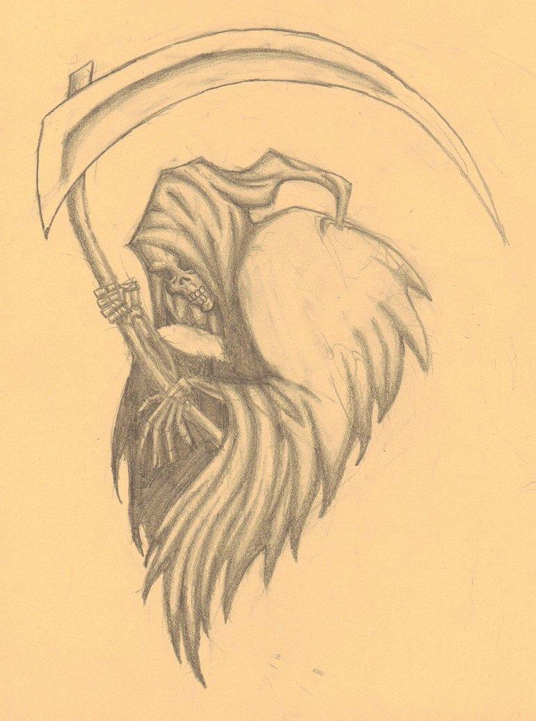 ebb010e47 Grey Ink Grim Reaper Halloween Tattoo Design