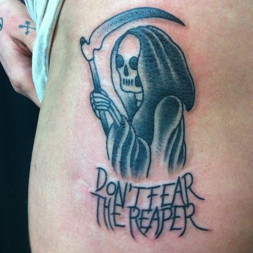 Awesome GRey Ink Grim Reaper Tattoo On Side