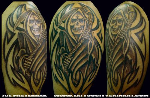 Beautiful Tribal Grim Reaper Tattoos Designs