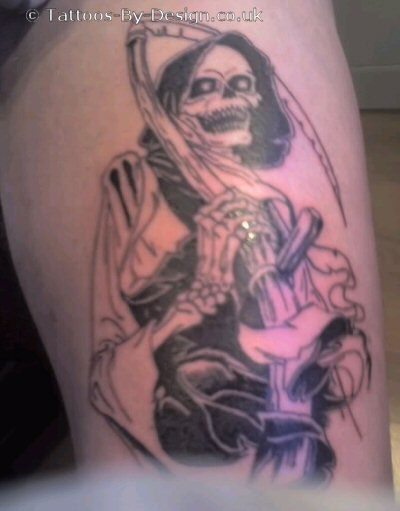Best Grey Ink Grim Reaper Tattoo On Half Sleeve