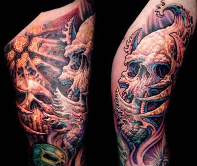 Biomechanical Grim Reaper Tattoo