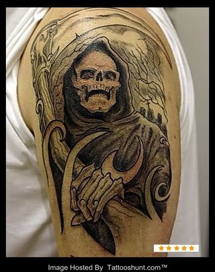 Black Ink Grim Reaper Tattoo On Left Half Sleeve