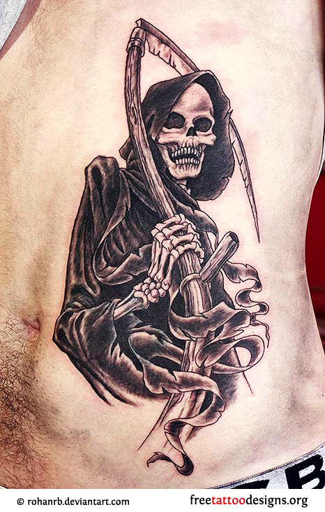 Black Ink Grim Reaper Tattoo On Man Side Rib