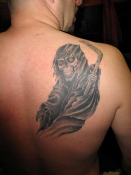 Black Ink Grim Reaper Tattoo On Right Back Shoulder