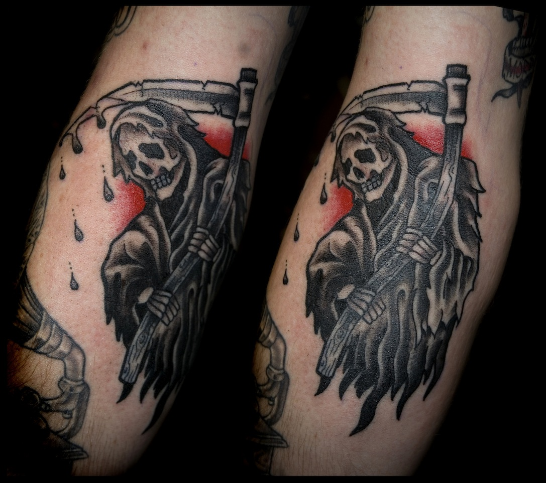 Classic Black Ink Grim Reaper Tattoo On Sleeve