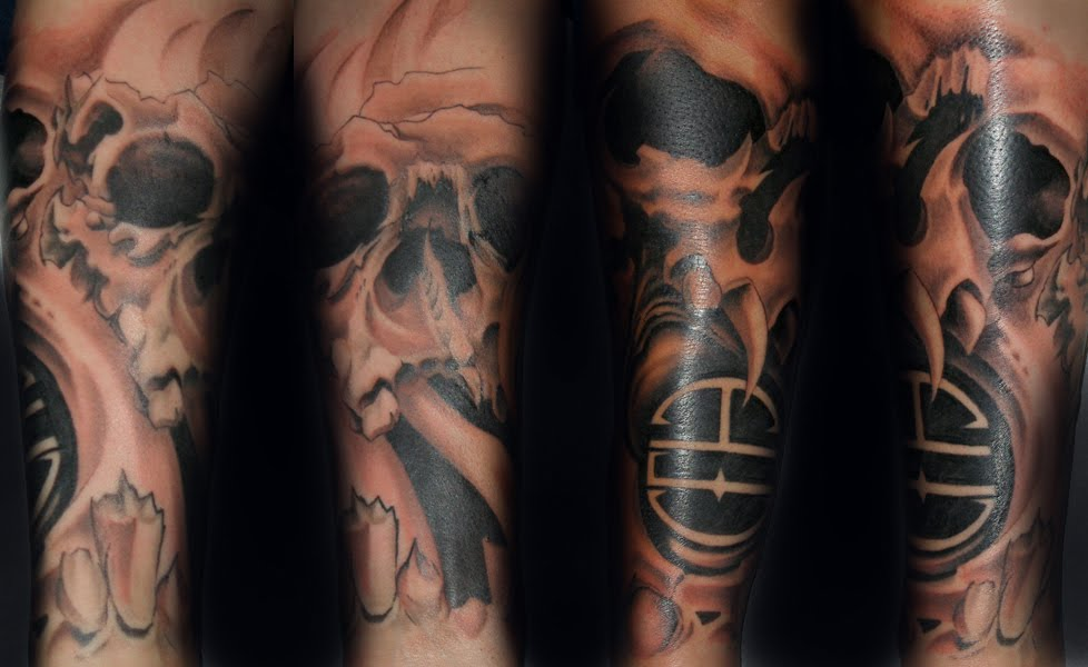 Cool Black Ink Grim Reaper Tattoo On Sleeve