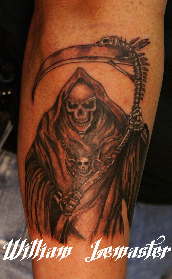 Cool Grey Ink Grim Reaper Tattoo On Right Sleeve