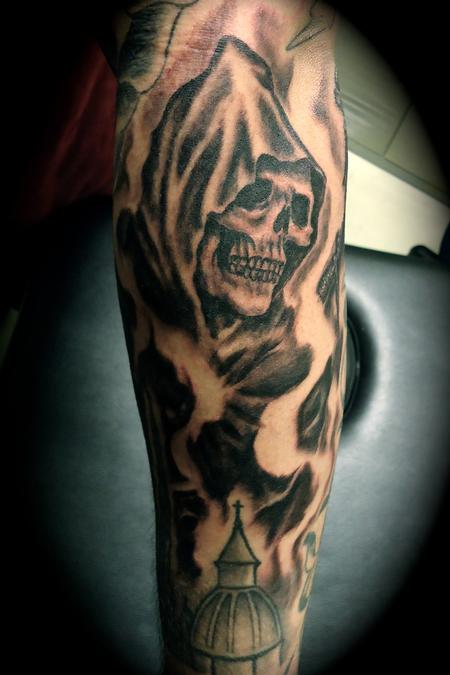 Fine Black Ink Grim Reaper Tattoo On Sleeve