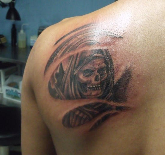 Grey Ink Back Shoulder Grim Reaper Tattoo