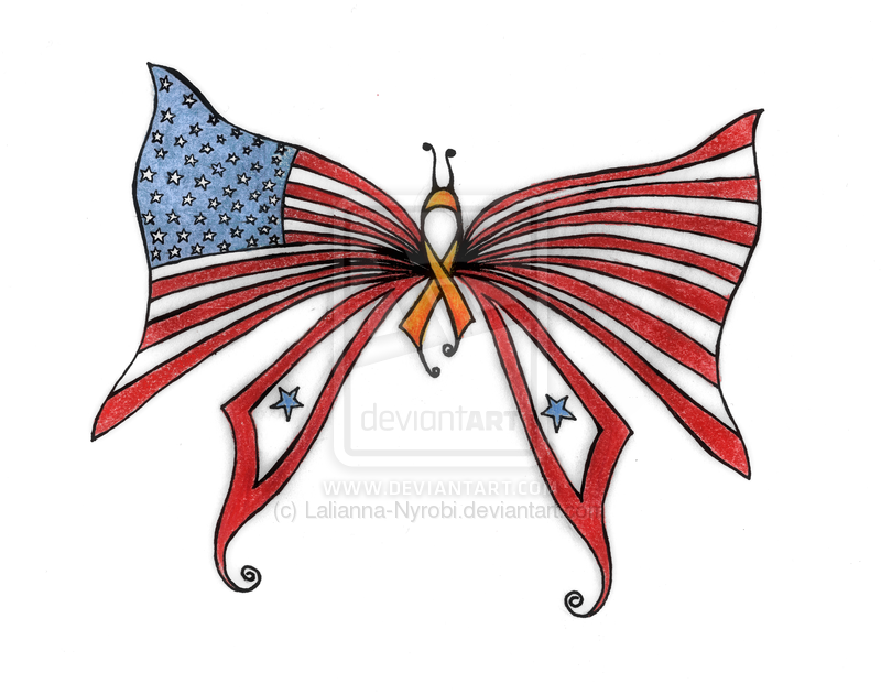 American Flag Butterfly Tattoo