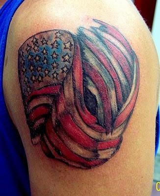 american flag tattoo on shoulder. Black Bedroom Furniture Sets. Home Design Ideas