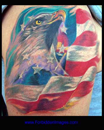 Bald Eagle And Flag Tattoo