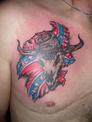 confederate flag tattoos on chest. Black Bedroom Furniture Sets. Home Design Ideas