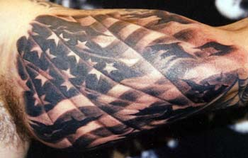 Flag Black Tattoo On Bicep