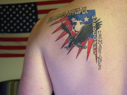Flag Tattoo On Back Shoulder