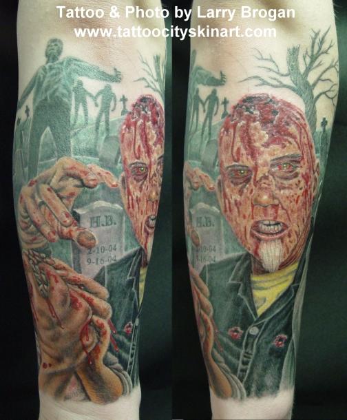 6992284e1f9ca Amazing Color Zombie Graveyard Tattoo · Zombie Graveyard Tattoo Design For  Sleeve · Larry Brogan ...