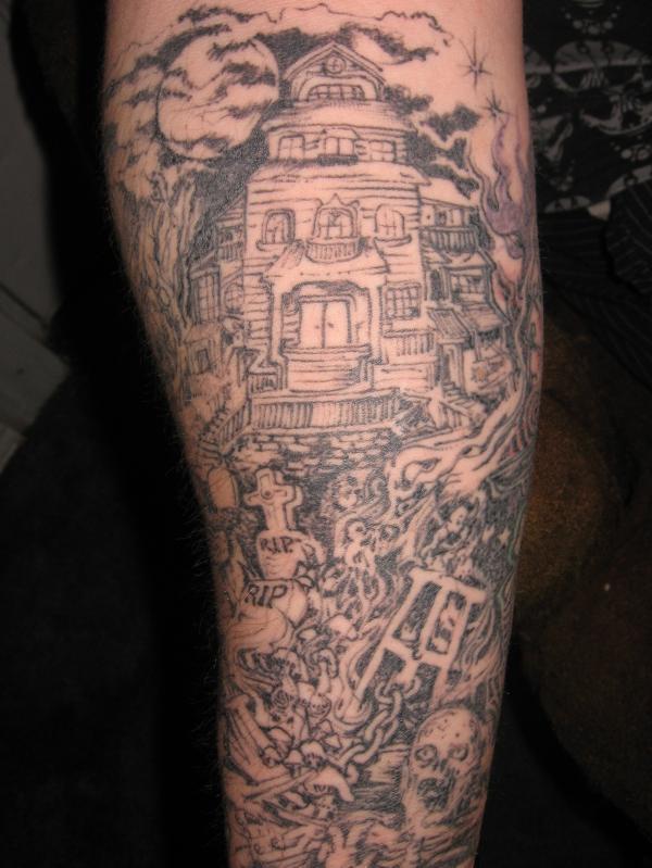 Attractive Grey Ink Graveyard Tattoo On Sleeve