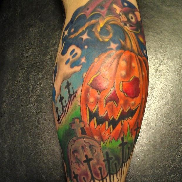Graveyard Pumpkin Man Tattoo Design