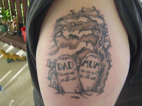 graveyard tombstone tattoo on right shoulder. Black Bedroom Furniture Sets. Home Design Ideas