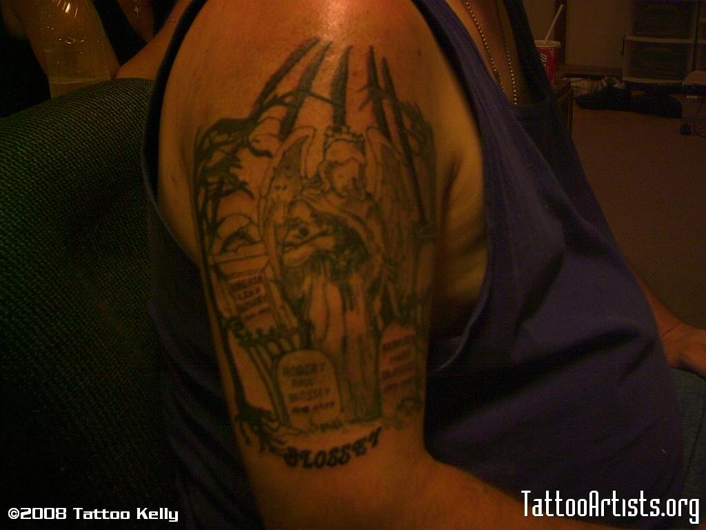 Cemetery and graveyard tattoo on half sleeve - Grey Ink Graveyard Angel Tattoo On Right Half Sleeve