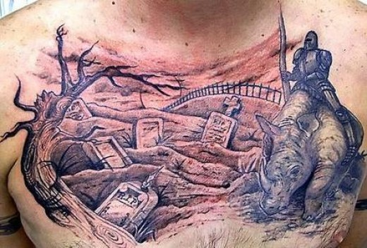 Grey ink graveyard tattoo on man chest for Cemetery tattoo pics