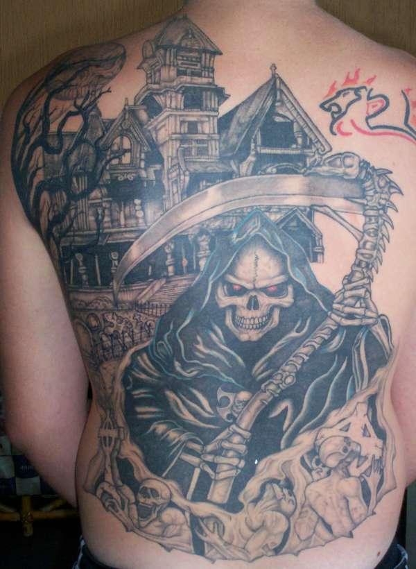Grim Reaper Back Tattoo: Graveyard Tattoo Images & Designs